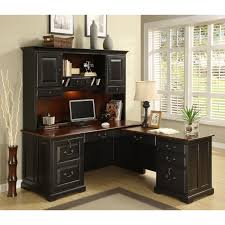 furniture black wooden l computer desk with hutch and brown
