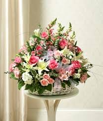 White Flower Arrangements Pink U0026 White Flower Sympathy Basket At From You Flowers