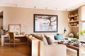 dining room to office cozy neutral living dining room with a home office digsdigs