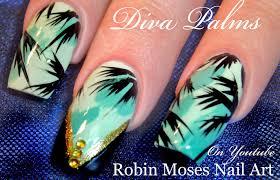 summer nails tropical diva teal nail art design tutorial