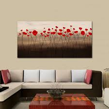 Paintings For Living Room by Red Flowers Painting Canvas Oil Painting Oil Painting For