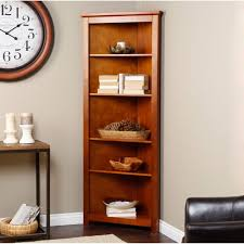 cheap corner brown wood walmart bookshelves with side table and