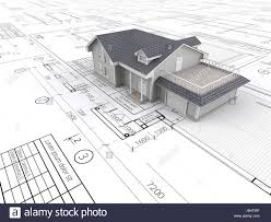 top perspective view of a house ontop of large set of blueprints stock photo top perspective view of a house ontop of large set of blueprints 3d render