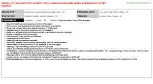 Front Desk Hotel Resume Hotel Assistant Front Office Manager Resume Sample