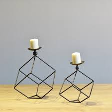 metal tea light holders simple modern design black and white cuboid tabletop metal candle