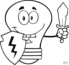 light bulb guarder with shield and sword coloring page free