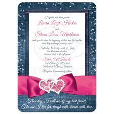 denim u0026 diamonds wedding invitation faux silver confetti ribbon