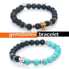 bracelet skull beads images Natural stones skull bead bracelet lava turquoises onyx beads mens jpg