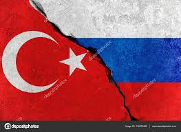 Russian Flag Colors Red Turkey Flag On Broken Damage Wall And Half Russian White Red