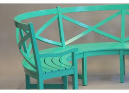 outdoor garden furniture in custom paint colors on mahogany
