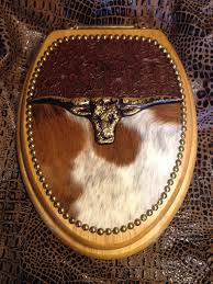 western decor longhorn cowhide and leather toilet seat oak toilet