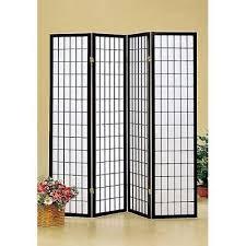 4 panel wood shoji room divider screen oriental black wooden frame