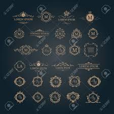 set of elegant floral monograms and borders design templates