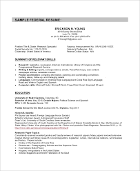 Sample Research Resume by Sample Federal Resume 8 Examples In Word Pdf