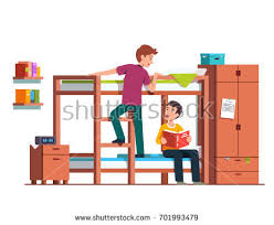 Cartoon Bunk Bed by Student Boy Climbing Bunk Bed Ladder Stock Vector 701993479