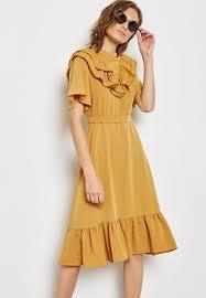 shop ella yellow ruffle detail self tie dress 120802 for women in