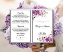 wedding program template purple lavender u0026 lilac romantic