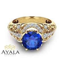 natural sapphire rings images Blue sapphire engagement ring 14k yellow gold ring natural jpg