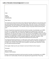 sample charity donation acknowledgement letter donation