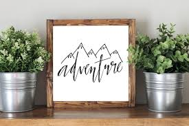 adventure sign framed artwork rustic home decor nursery decor
