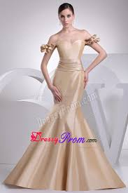 the shoulder mermaid champagne prom dress brush train