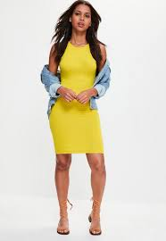 yellow dress yellow 90 s neck bodycon dress missguided