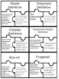 types puzzle piece activity ccss simple compound complex