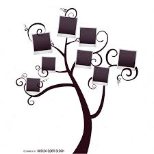 family tree with polaroids template vector download