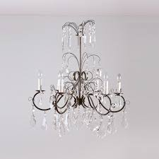 Chandelier Antique Brass Six Light Chandelier In Forged Antique Brass With Cut Glass Prisms