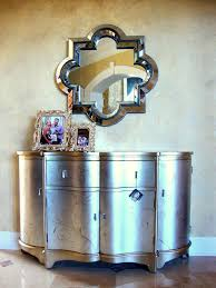 luxury entry way decoration features silver gold small foyer table