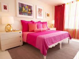 furniture girls room with two twin bed having red tall headboard