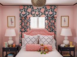 Bedroom Pink And Blue Pink And Blue Bedroom With Gray Bed And Nightstands Transitional
