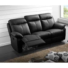 canapé relax électrique 3 places cuir noir vyctoire l 201 x l 95