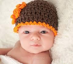 fall brown orange crochet flower hat beanie