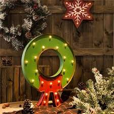 glitzhome vintage marquee led lighted wreath sign wall decor
