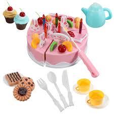 jeux de simulation de cuisine 54 pcs enfants cuisine jouets d anniversaire gâteau coupé jouets