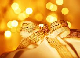 New Year Decoration Lights by Gold Holiday Background With White Present Gift Box Christmas