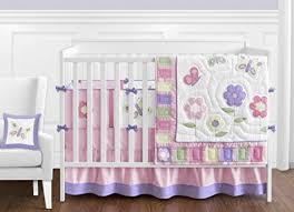 Jojo Crib Bedding Pink And Purple Butterfly Flower Collection Baby Bedding 9pc