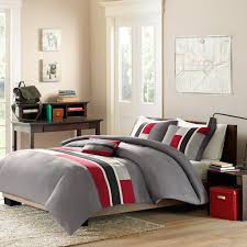Twin Xl Bedding Sets For Guys Red Grey Black Geometric Teen Boy Bedding Twin Xl Full Queen