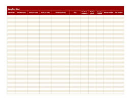 Vendor Management Excel Template Supplier List Template Supplier List Spreadsheet