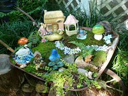 fairy garden plants with miniature fairy garden and grass and