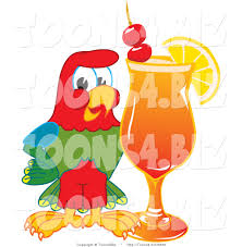 cocktail illustration vector illustration of a cartoon parrot mascot with a fruity