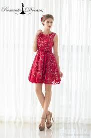 short prom dresses girls party cocktail dresses red lace mini