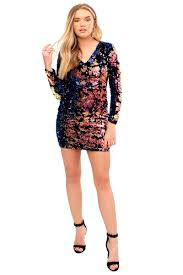 coloured dress cressida sleeve multi coloured sequin bodycon dress miss