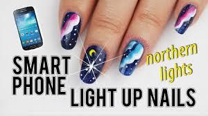 smartphone light up nail sticker northern lights nails