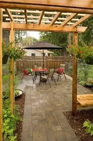 backyard paver ideas patio traditional with stone patio red brick