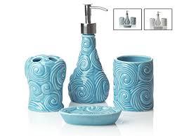 Porcelain Bathroom Accessories Sets Aqua Bathroom Accessories Set Amazon Com