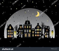 European Style Houses Night City Skyline Amsterdam Style Houses Stock Vector 651996352