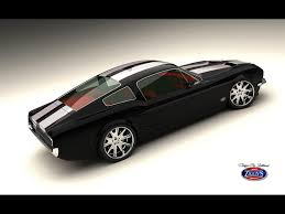 mustang classic classic mustang fastback by vizualtech black side angle