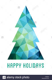 abstract blue and green christmas tree with geometric polygon